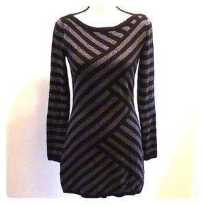 WHBM Metallic Striped Tunic Sweater